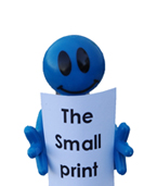 Photgraph of bendy man reading the small print